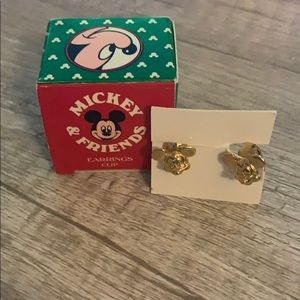 Disney Mickey Mouse Gold Clip on Earrings